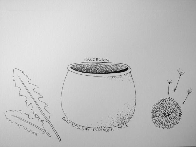Inktober Day 16 - Dandelion by Cozy Rebekah