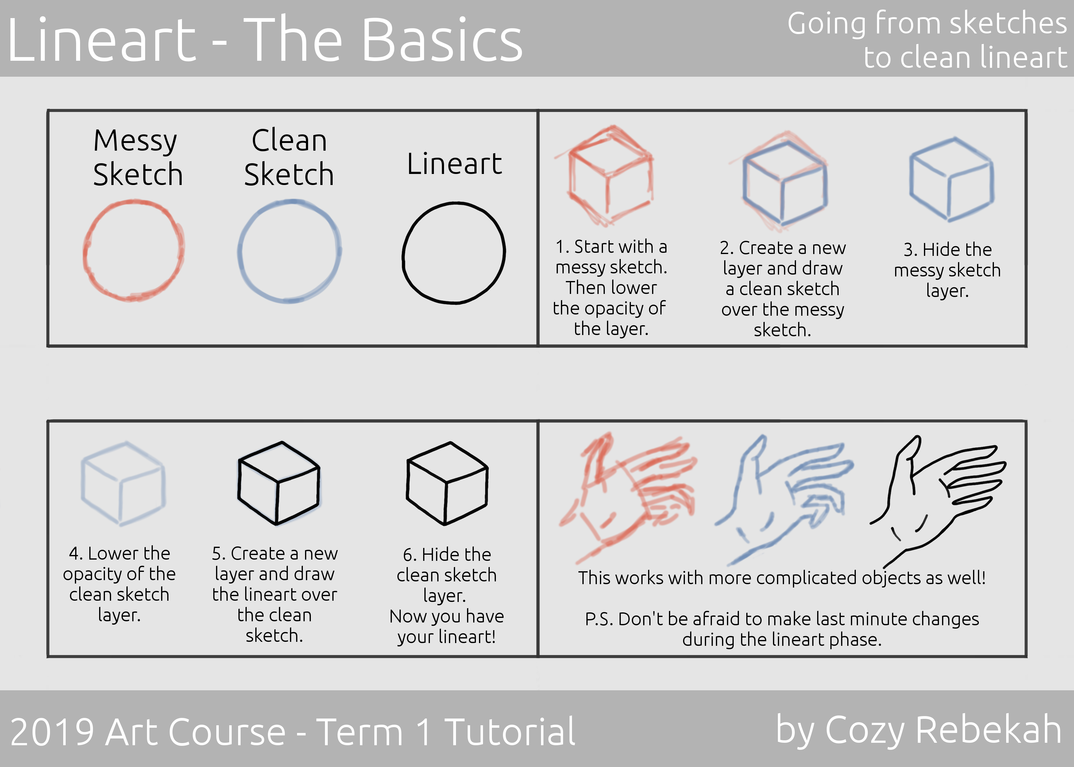 2019 Art Course - Term 1 - Lineart Tutorial P1 - cozyrebekah.com