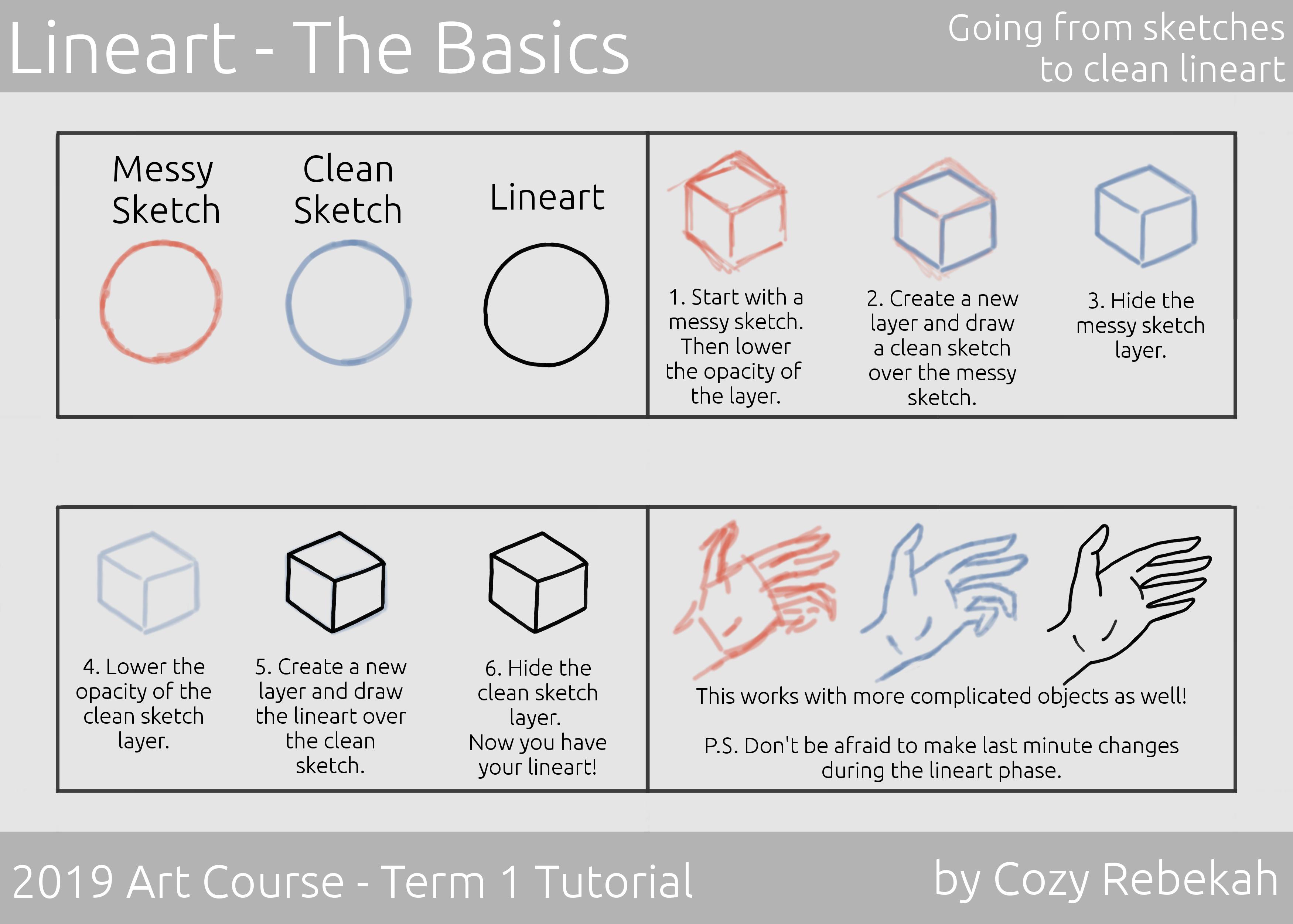 2019 Art Course - Term 1 - Lineart Tutorial P1 - cozyrebekah.com