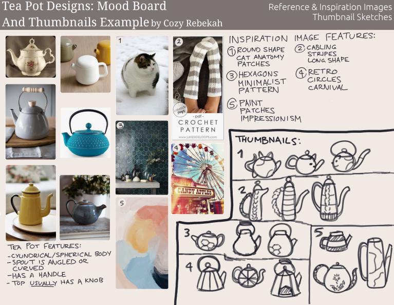 2019 Art Course - Term 1 - Design Mood Board + Thumbnails - cozyrebekah