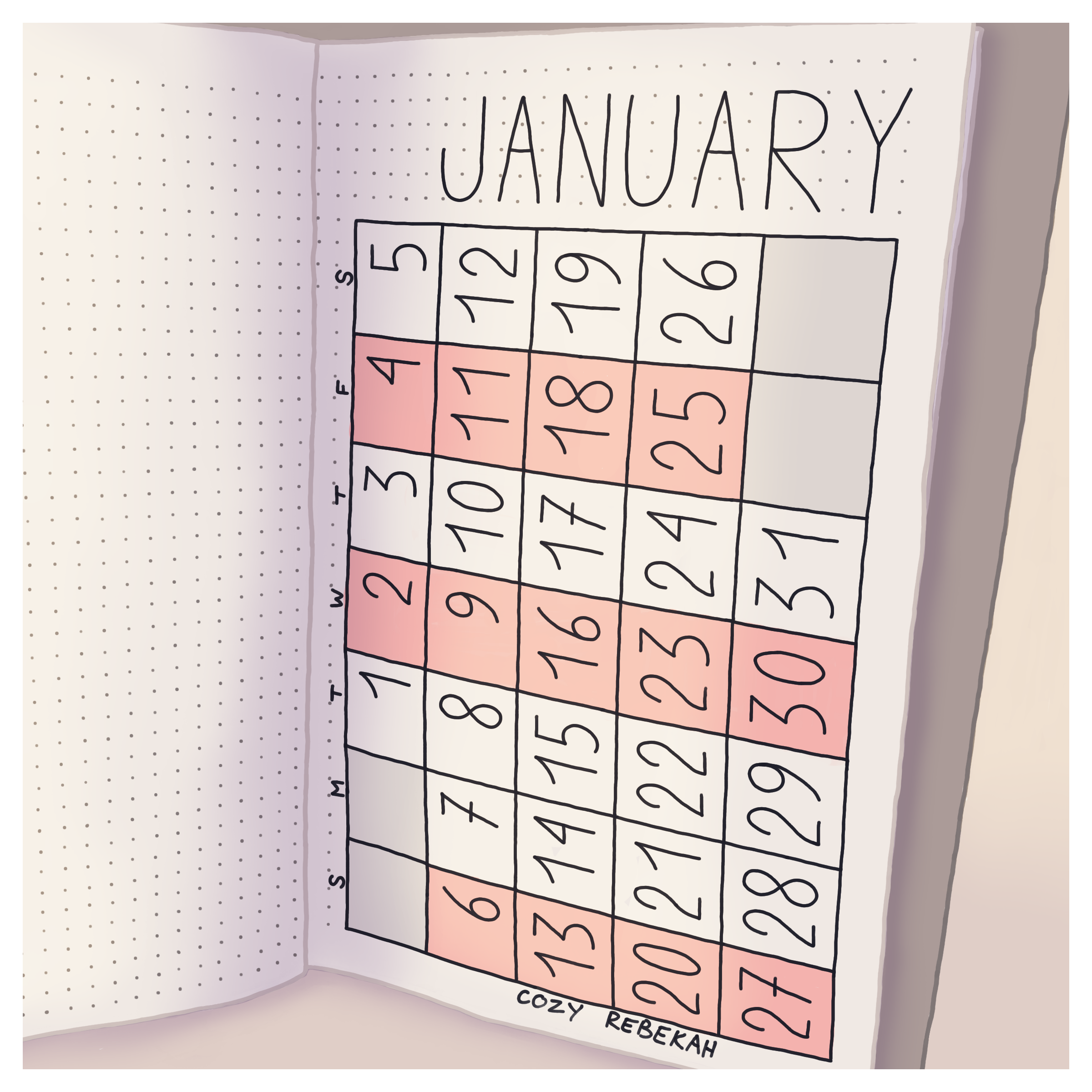 January Bullet Journal Calendar by Cozy Rebekah