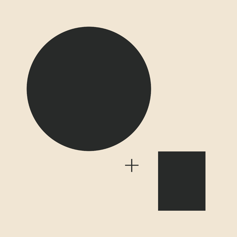 An abstraction of the theatrical romantic essence: a smaller circle + a very small rectangle. Rounded shape with a bit of added angularity and slenderness.