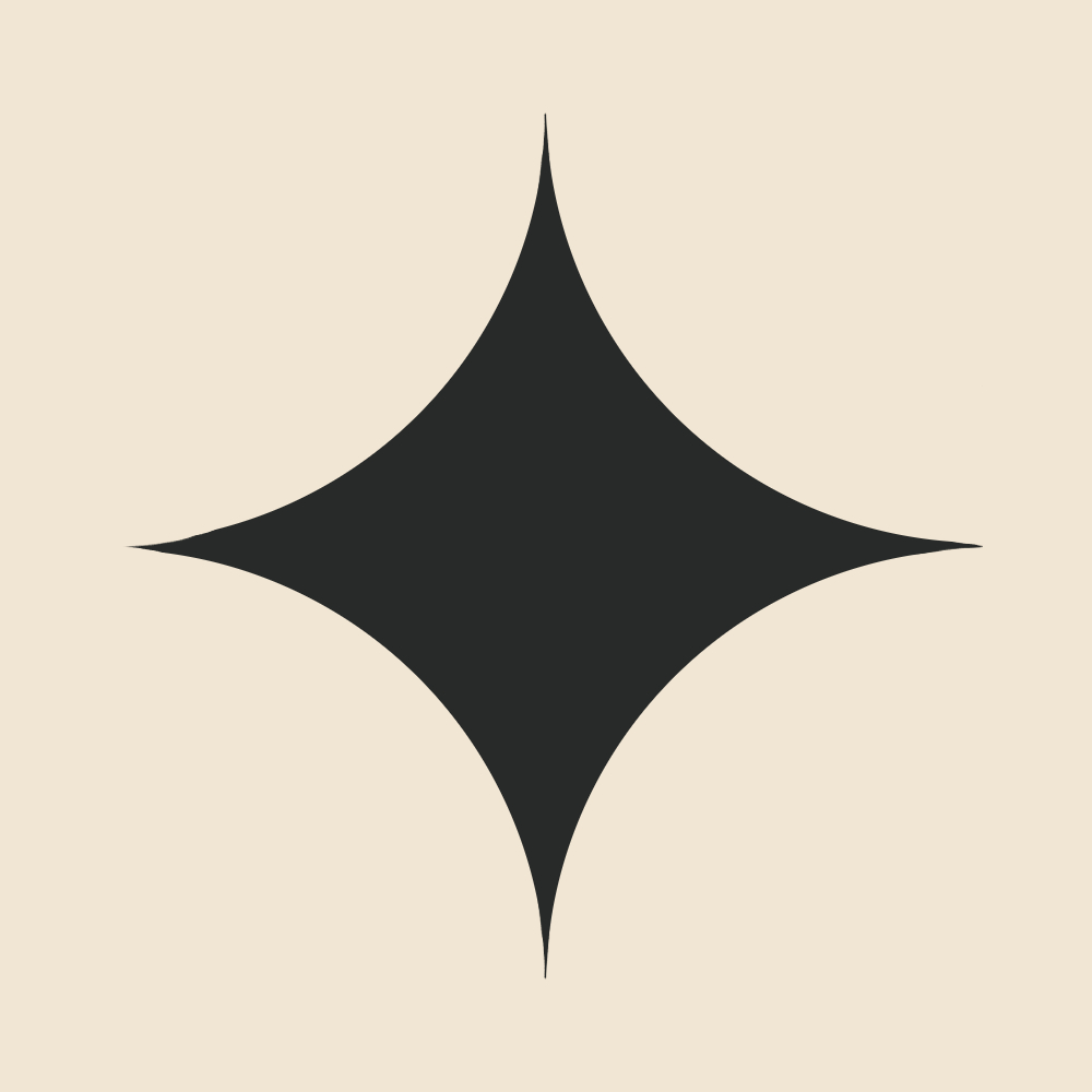 The gamine essence abstracted: a four pointed star with rounded curves, a mixture of angularity and roundness.