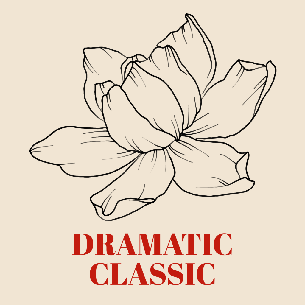 A line art drawing of a gardenia set against a pale background with the words 'Dramatic Classic' written underneath it in red text.