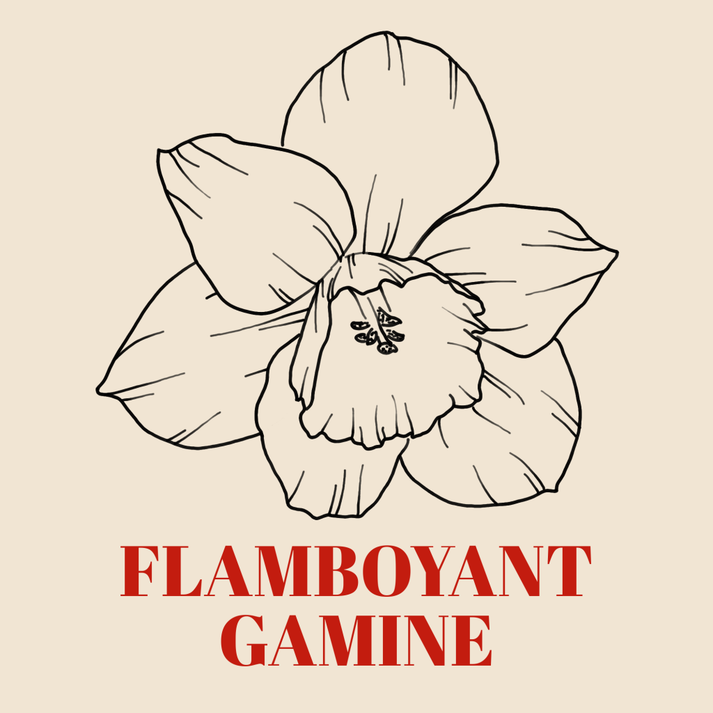 A line art drawing of a daffodil against a pale background with the words 'Flamboyant Gamine' written underneath it in red text.