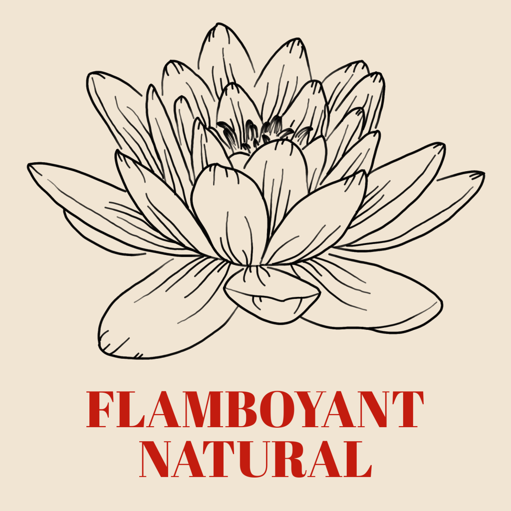 A line art drawing of a water lily against a pale background with the words 'Flamboyant Natural' written underneath it in red text.