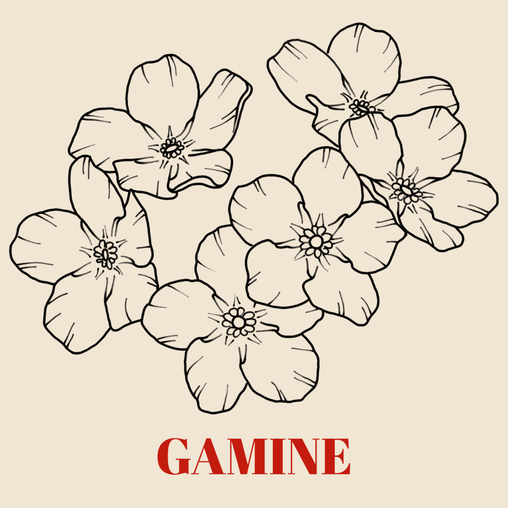 A line art drawing of forget-me-nots against a a pale background with the word 'Gamine' written underneath in red text.