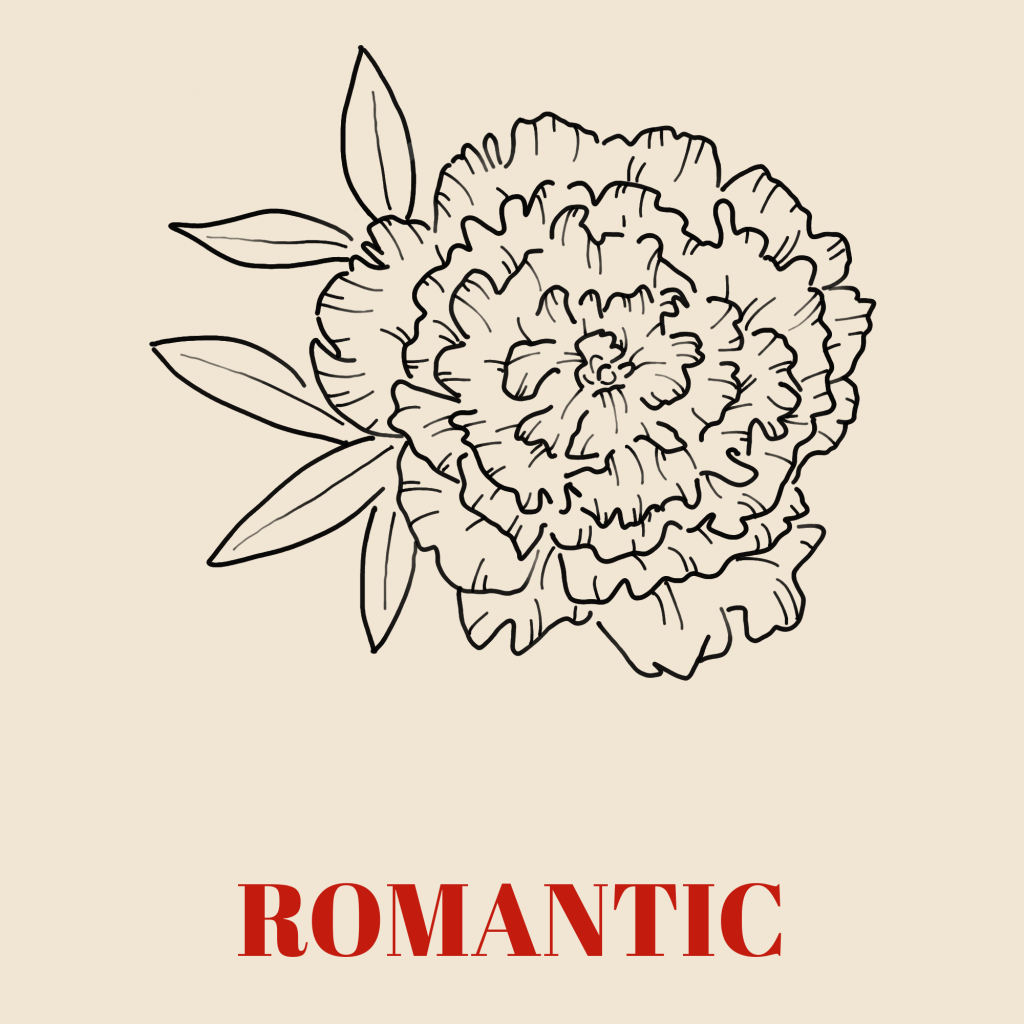 A line art drawing of a peony against a pale background with the word 'Romantic' written underneath it in red text.