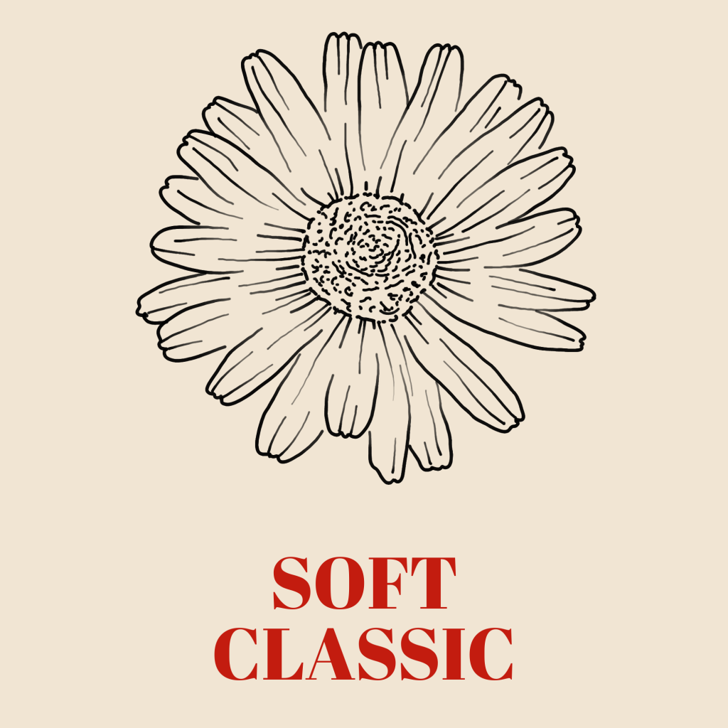 A line art drawing of a daisy set against a pale background with the words 'Soft Classic' written underneath it in red text.