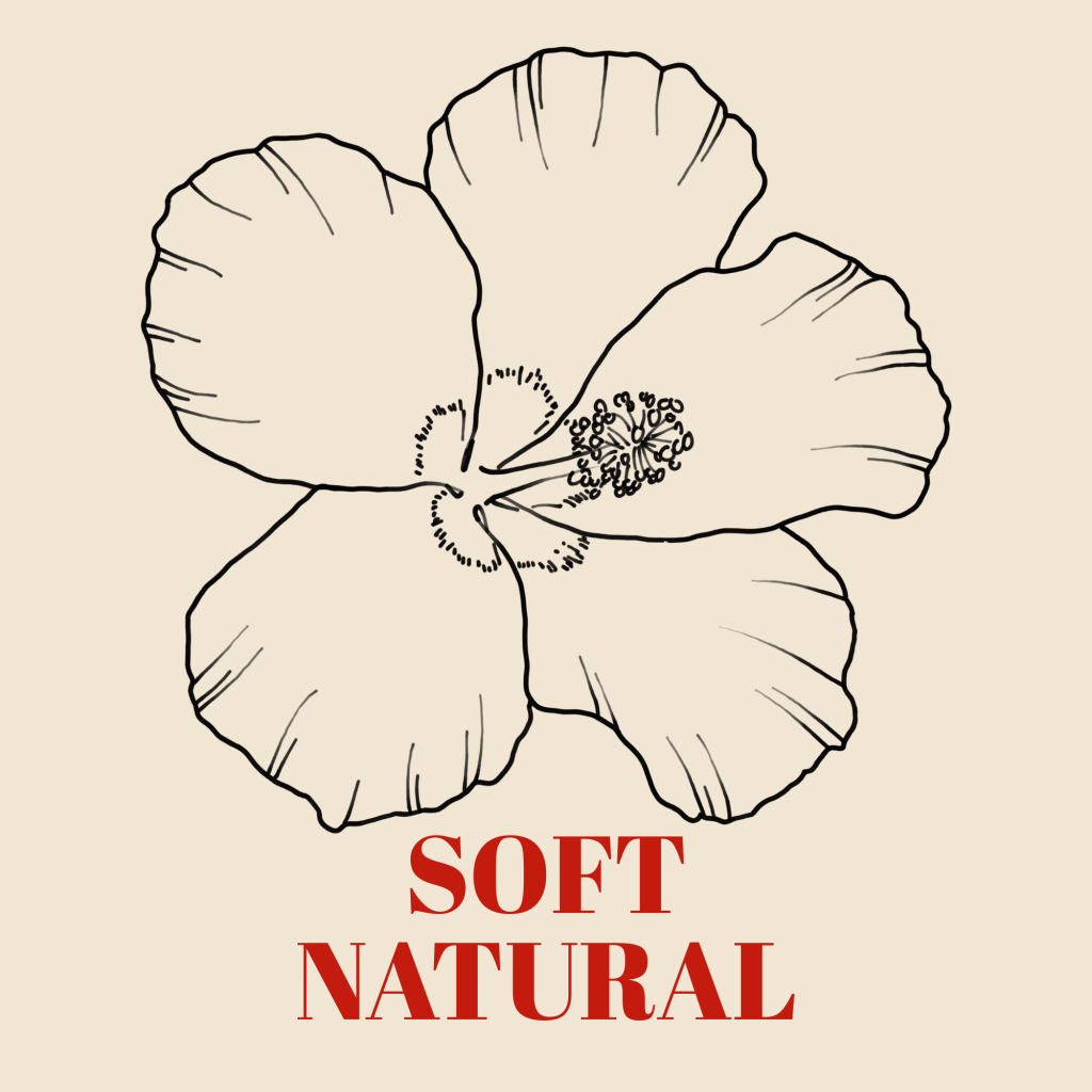 A line art drawing of a hibiscus against a pale background with the words 'Soft Natural' underneath it.