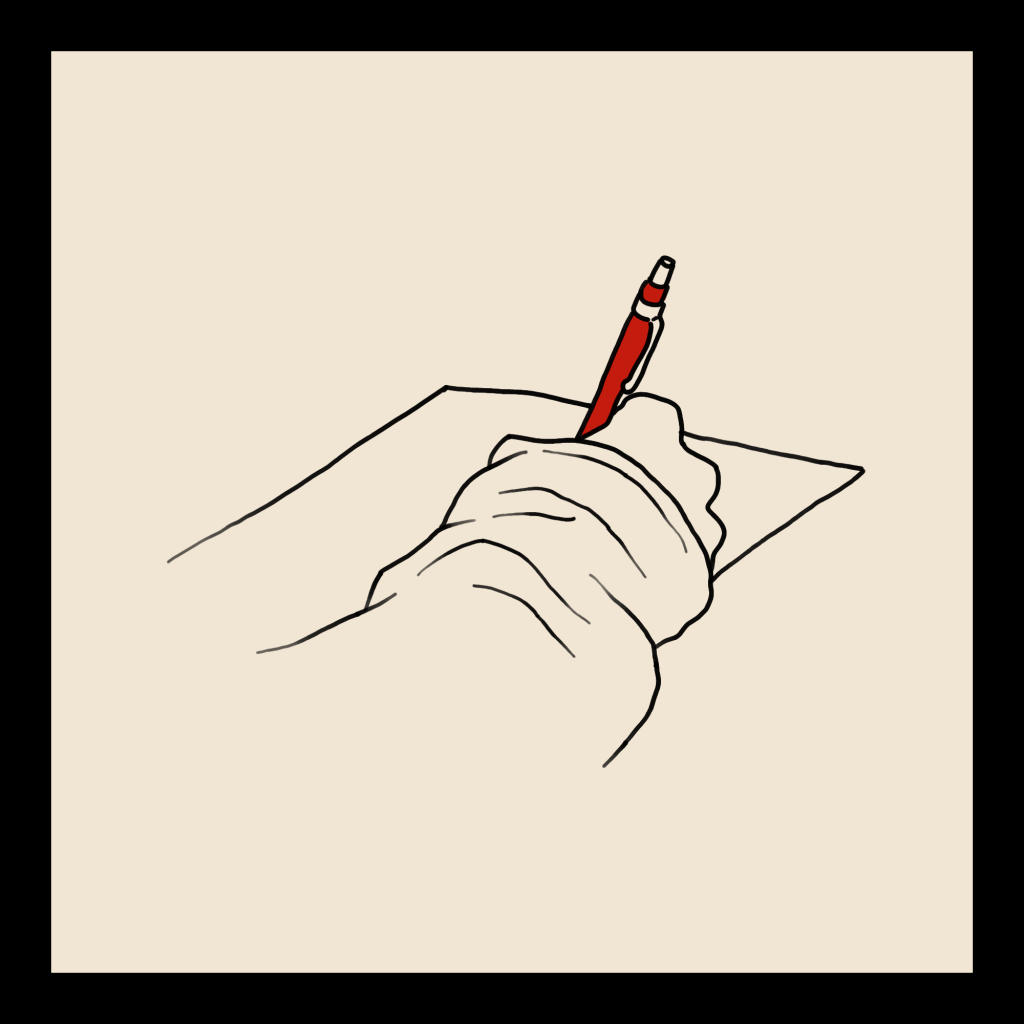 A line art drawing of a hand holding a pen