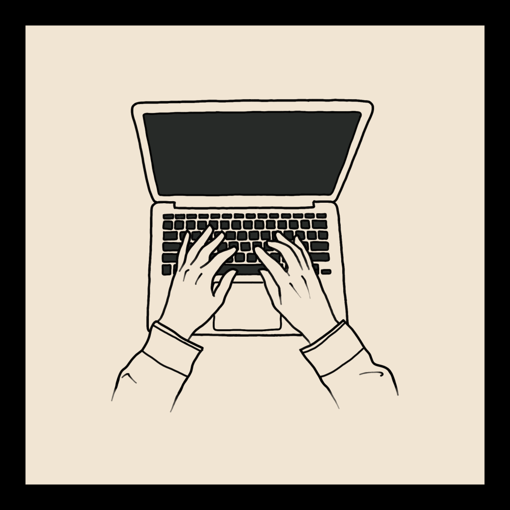 A line art drawing of a laptop with hands typing at the keyboard