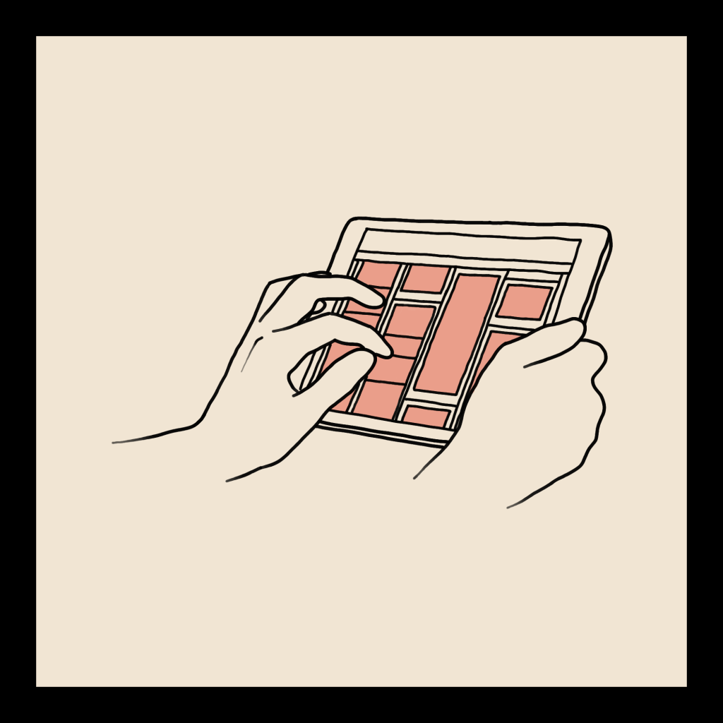 A line art drawing of someone scrolling through pictures on a tablet