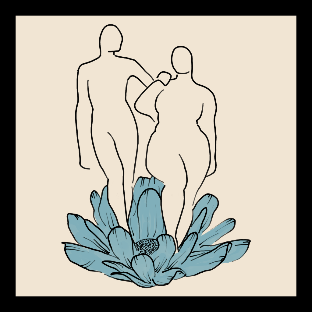 A line art drawing of two bodies standing on a flower