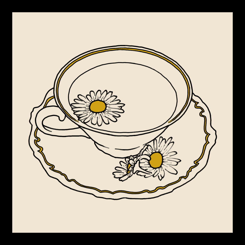 A line art drawing of a teacup with yellow flowers in it