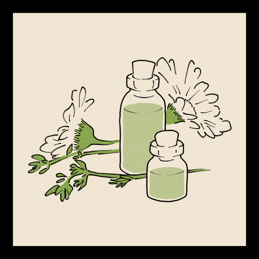 A line art drawing of two bottles with some flowers