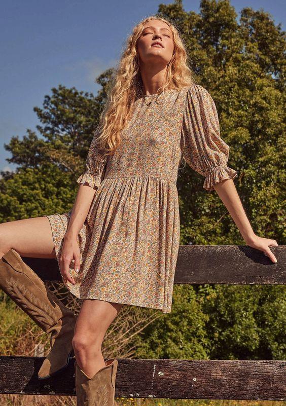 Woman wearing a mini prairie dress